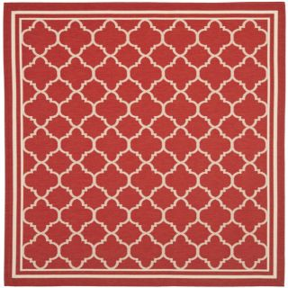 Poolside Red/ Bone Indoor Outdoor Rug (67 Square)