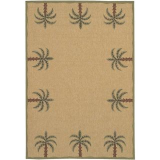 Picnic Beige Palm Tree Border Indoor/Outdoor Rug (23 x 79