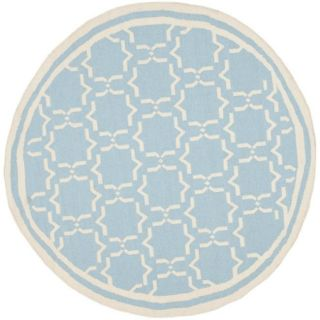 Moroccan Light Blue/ Ivory Dhurrie Wool Rug (8 Round)