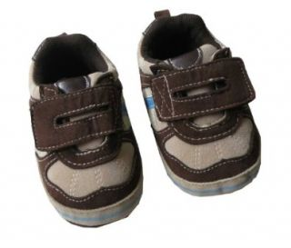 Infant Toddler Boys Brown and Beige Velcro Sneaker Shoes