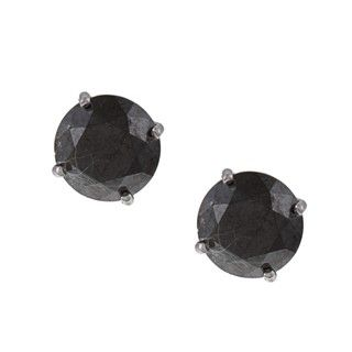 14k White Gold 4ct TDW Black Diamond Stud Earrings