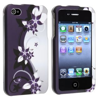 Purple Flower Snap on Rubber Coated Case for Apple iPhone 4/ 4S