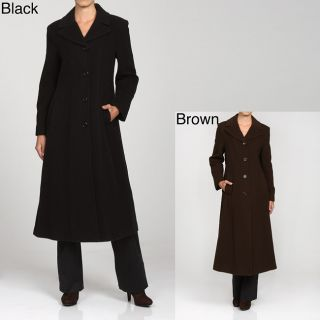 Anne Klein Womens Long Single breasted Wool Coat