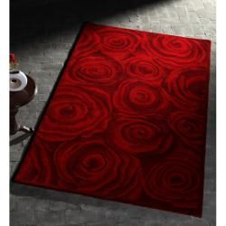 Handmade & Hand carved Alexa Prive Red Rose Wool Rug (5 x 8