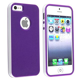 BasAcc Purple/ White Bumper TPU Rubber Skin Case for Apple® iPhone 5