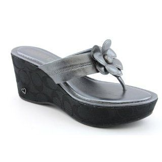 SZ 8 Gray Gunmetal New Open Toe Leather Wedge Sandals Shoes Shoes