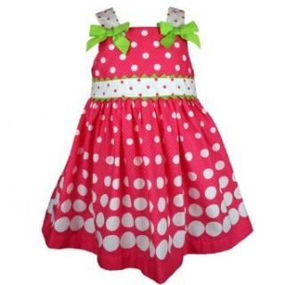Rare Editions Girls Fuchsia Green Polka Dot Dress 6X
