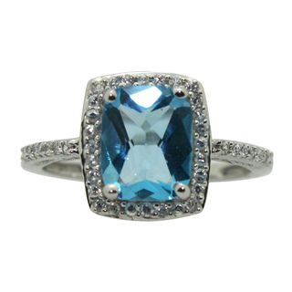 Sterling Silver Created Blue Topaz and Cubic Zirconia Ring