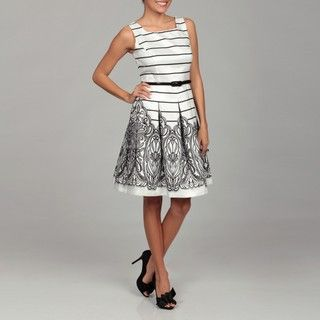 Ceces New York Womens White/ Black Stripe Abstract Dress FINAL SALE