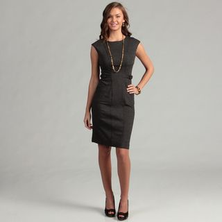 Calvin Klein Womens Black Belt Detail Dress