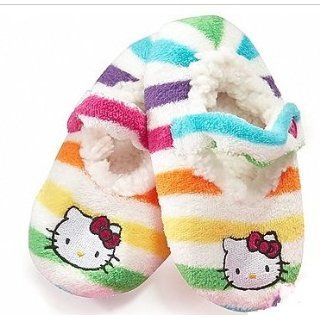 Hello Kitty Striped Embroidered Fuzzy Babba Slipper Socks