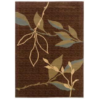 Acadiah Brown/ Green Floral Area Rug (92 x 125)