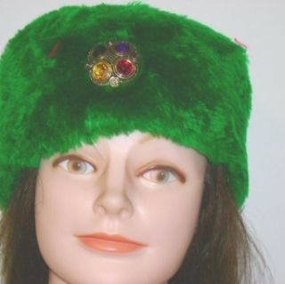 Ht113, Hand Made Neon Green Fur Hat for Women and Teens