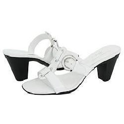 AK Anne Klein Hollie White Leather Sandals