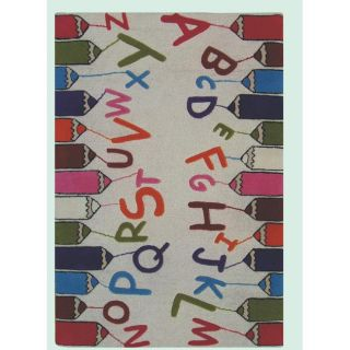 Hand carved Alexa Kids Crayons & Alphabets Multi Wool Rug (36 x 56