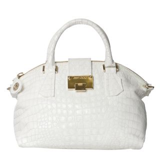 Jimmy Choo Romeo White Croc stamp Leather Bowler Bag