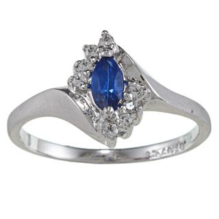 Sterling Essentials Silver Marquise cut Blue Cubic Zirconia Ring