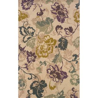 Hand tufted Indoor Ivory and Purple Wool Area Rug