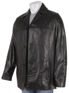 Kenneth Cole Reaction Mens Esteban 3 button Leather Coat