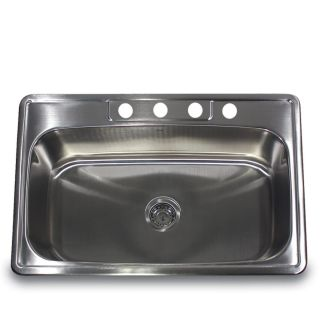Stainless Steel 33 inch Self Rimming Single Bowl Kitchen Sink