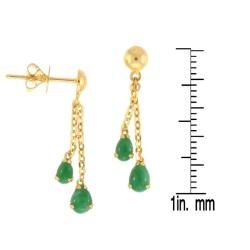 Mason Kay 18k Yellow Gold Green Jadeite Dangle Earring