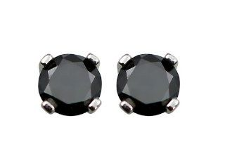 14k White Gold Black Diamond Stud Earrings (3/4 cttw