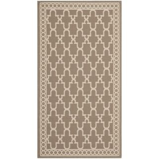 Safavieh Dark Beige/ Beige Indoor Outdoor Rug