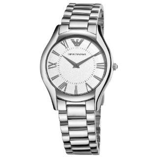Emporio Armani Womens AR2056 Slim Silver Dial Watch Watches