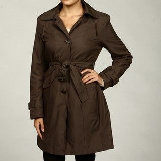 Anne Klein Womens Truffle Zip off Hood Coat FINAL SALE