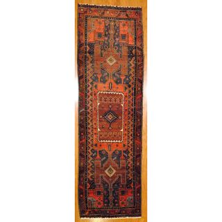Persian Hand knotted Navy/ Rust Hamadan Wool Rug (4 x 135