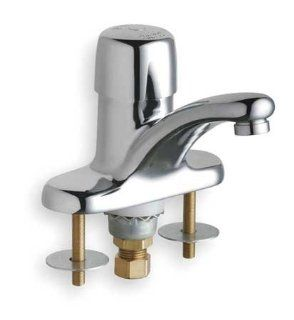 CHICAGO FAUCETS 3400 ABCP Lavatory Faucet, 1H Handle, Push