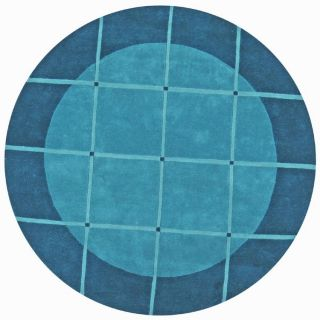 Hand tufted Grid Blue Geometric Wool Rug (6 Round)