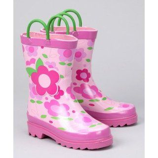 Little Girls Pink Flower Rain Boots Sizes 7/8, 9/10 and 11/12