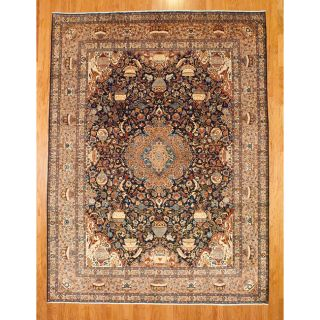Persian Hand knotted Navy/Peach Kashmar Wool Rug (10 x 134