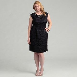 Jessica Howard Womens Plus Size Navy Cap Sleeve Beaded Dress