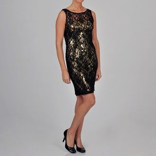 Onyx Nite Womens Lace Dress with Sequin Lining