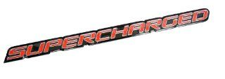 Red Supercharge Supercharged Aluminum Emblems for Chevy Corvette Dodge