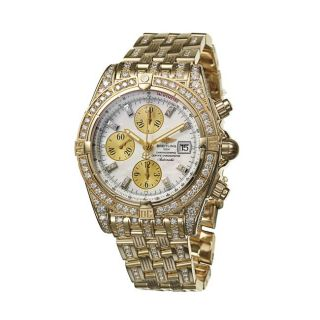 Breitling Mens Chronomat Evolution 18k Yellow Gold Diamond Watch