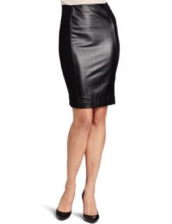 Adrienne Vittadini Womens Leather Panel Pencil Skirt
