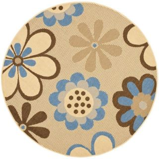 Indoor/ Outdoor Natural/ Blue Rug (53 Round)