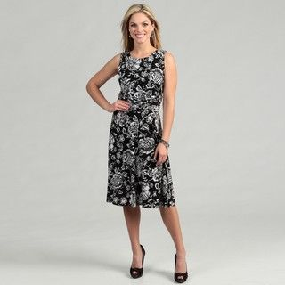 Jessica Howard Womens Black Floral Ruched Dress