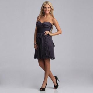 Adrianna Papell Womens Smoke Sleeveless Tiered Party Dress