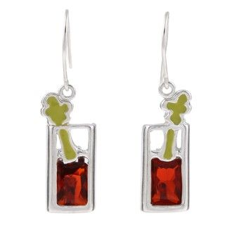 Silvermoon Silver Cubic Zirconia and Enamel Bloody Mary Earrings
